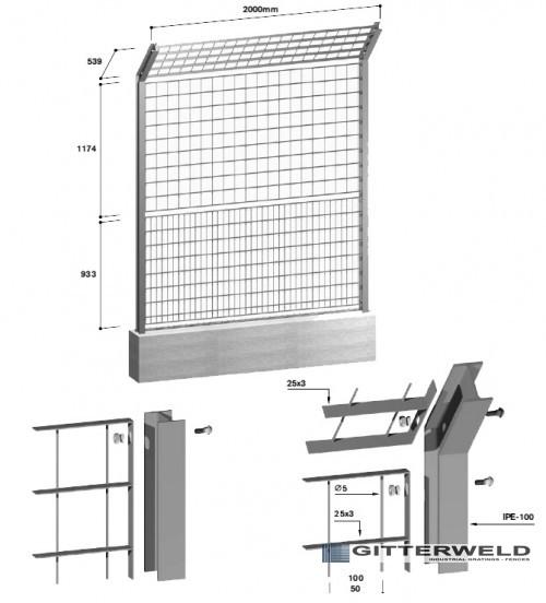 gard metalic pentru baze sportive cu desen